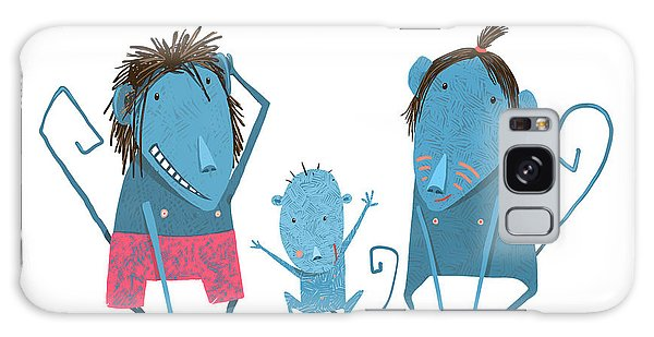 Comical Galaxy Case - Funny Monkey Family Hand Drawn Cartoon by Popmarleo