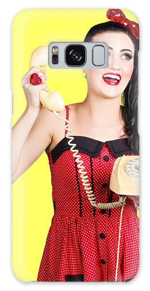 Vivacious Galaxy Case - Funny Pin-up Woman Talking On Retro Phone by Jorgo Photography - Wall Art Gallery