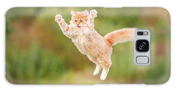 Furry Galaxy Case - Funny Red Cat Flying In The Air In by Grigorita Ko