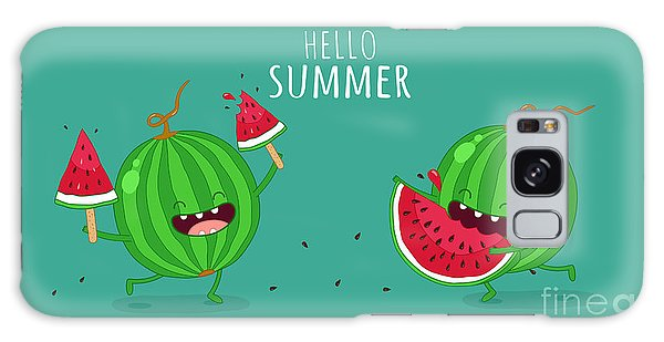 Summertime Galaxy Case - Funny Watermelon Eating A Piece Of by Serbinka