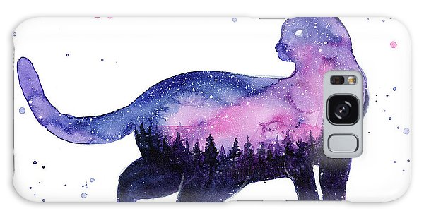 Galaxy Galaxy Case - Galaxy Forest Cat by Olga Shvartsur