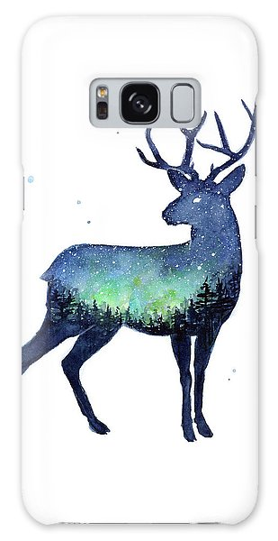 Outer Space Galaxy Case - Galaxy Reindeer Silhouette by Olga Shvartsur