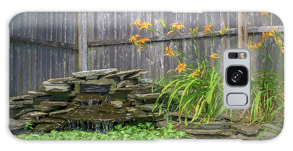 Garden Pond With Orange Day Lilies Galaxy Case