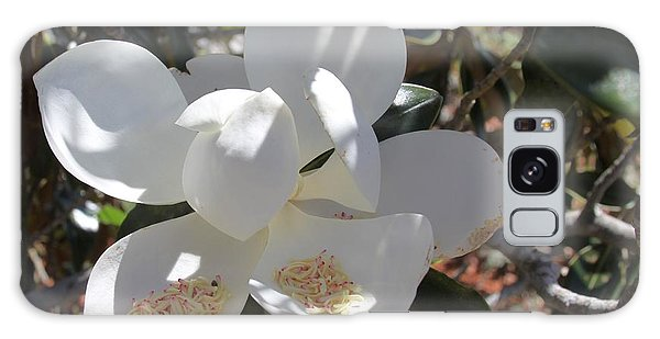Gigantic White Magnolia Blossoms Blowing In The Wind Galaxy Case