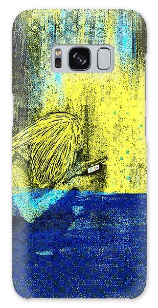 Galaxy Case featuring the digital art Girl On Phone Pop Art by Joy McKenzie - Abbie Shores
