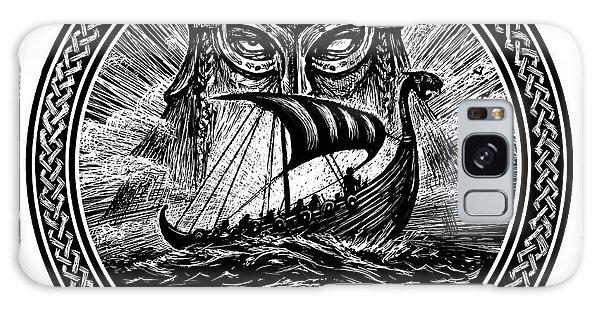 Mythology Galaxy Case - God Odin Storm Sea And Drakkar by Barandash Karandashich