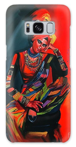 Galaxy Case featuring the painting Goddess Of Colors by Nizar MacNojia