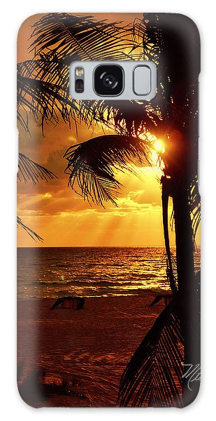 Golden Palm Sunrise Galaxy Case