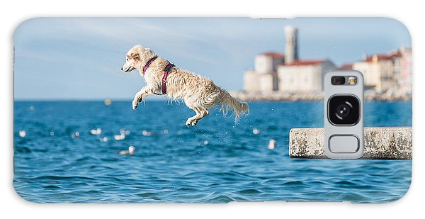 Leash Galaxy Case - Golden Retriever Dog Jumping Into Sea by Sonsart