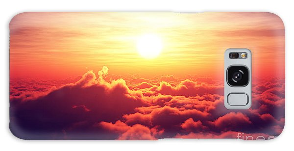 Horizontal Galaxy Case - Golden Sunrise Above Puffy Clouds by Johan Swanepoel