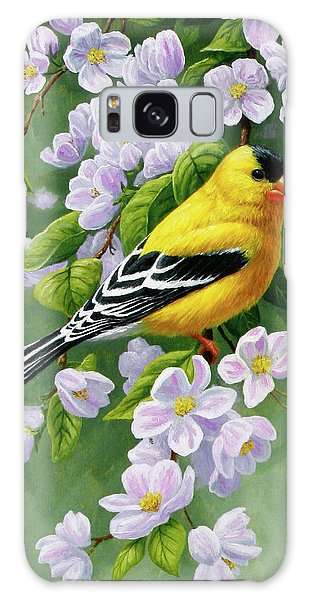 Song Bird Galaxy Case - Male American Goldfinch And Apple Blossoms by Crista Forest