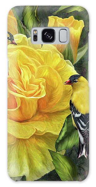 Cottage Galaxy Case - Goldfinches On Gold Roses by Carol Cavalaris