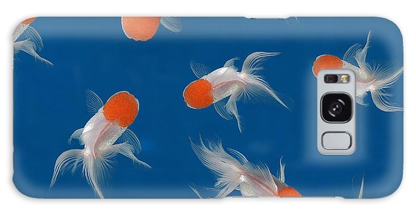 Decorative Galaxy Case - Goldfish Texture On Blue Background For by Bluehand