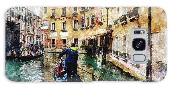 Gondola Traffic Near Piazza San Marco In Venice, Italy - Watercolor Effect Galaxy Case