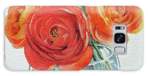 Hyper-realistic Galaxy Case - Gorgeous Ranunculus Watercolor Bouquet by Irina Sztukowski