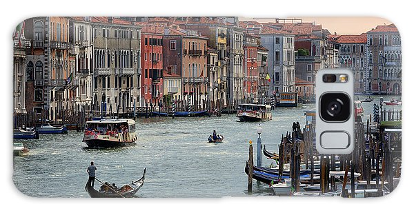 Galaxy Case featuring the photograph Grand Canal Gondolier Venice Italy Sunset by Nathan Bush