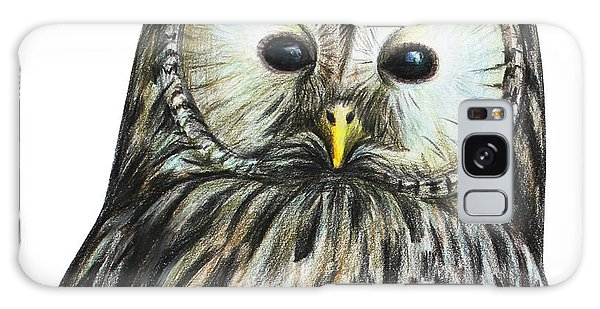 Mottled Galaxy Case - Gray Owl Portrait Drawing by Viktoriya art