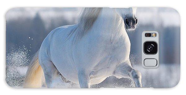 Active Galaxy Case - Gray Welsh Pony Galloping On Snow Hill by Abramova Kseniya