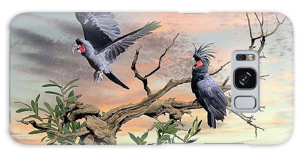 Great Black Cockatoo Pair Galaxy Case