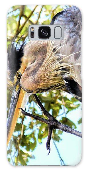 Great Blue Heron Close Up Galaxy Case