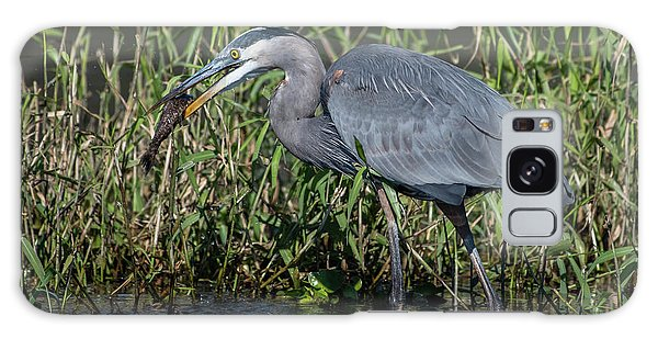 Galaxy Case featuring the photograph Great Blue Heron With Fish by Ken Stampfer