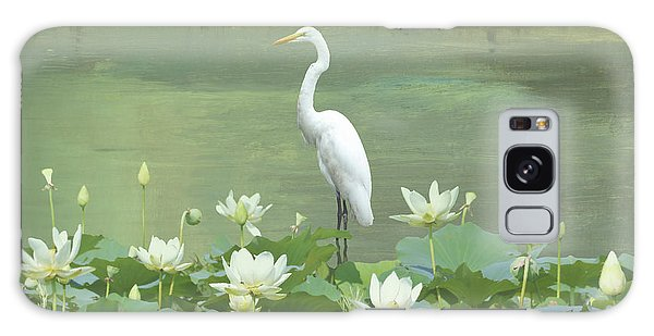 Great Egret And Lotus Flowers Galaxy Case