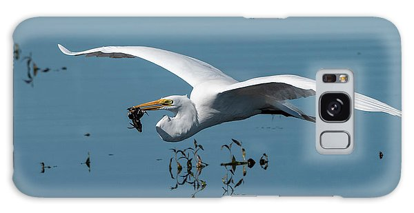 Great Egret Flying With Fish Galaxy Case