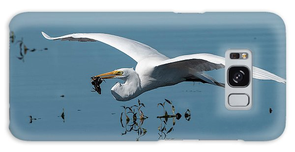 Galaxy Case featuring the photograph Great Egret Flying With Fish by Ken Stampfer