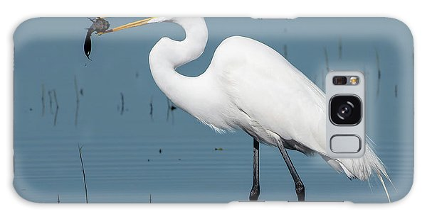 Great Egret With Fish Galaxy Case