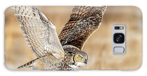 Great Horned Owl In Flight Galaxy Case