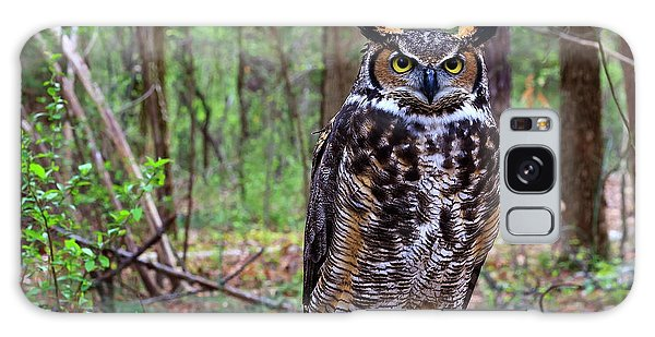 Great Horned Owl Standing On A Tree Log Galaxy Case