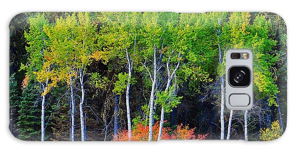 Green Aspens Red Bushes Galaxy Case