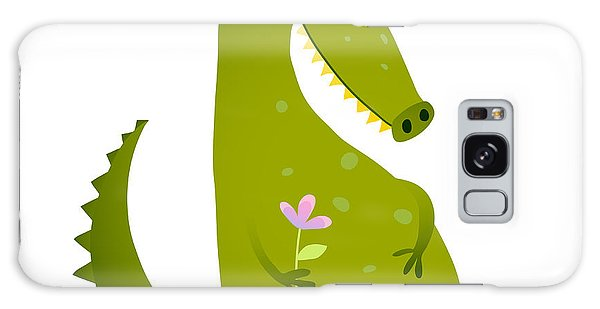 Event Galaxy Case - Green Cute Kids Crocodile Sitting With by Popmarleo