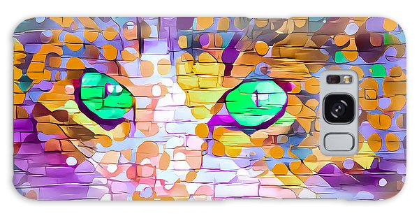 Green Eyed Cat Abstract Galaxy Case