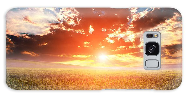 Farmland Galaxy Case - Green Field And Beautiful Sunset by Ruslan Ivantsov