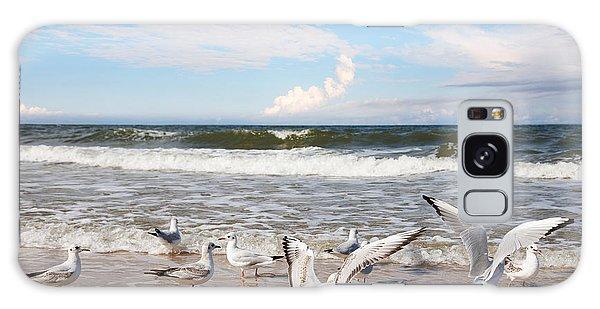 Seagulls Galaxy Case - Group Of Seagulls Ower Sea by Majeczka