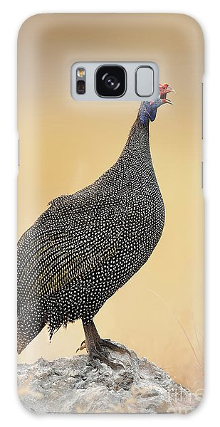 Perches Galaxy Case - Guinea-fowl Perched On A Rock - Etosha by Johan Swanepoel