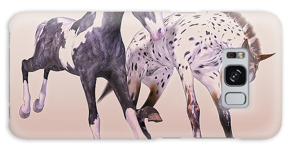 Black Buck Galaxy Case - Gypsy Vanner And Leopard Appaloosa Best Friends by Betsy Knapp
