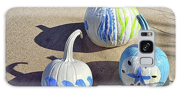 Galaxy Case featuring the photograph Halloween Blue And White Pumpkins On A Dune by Bill Swartwout Fine Art Photography
