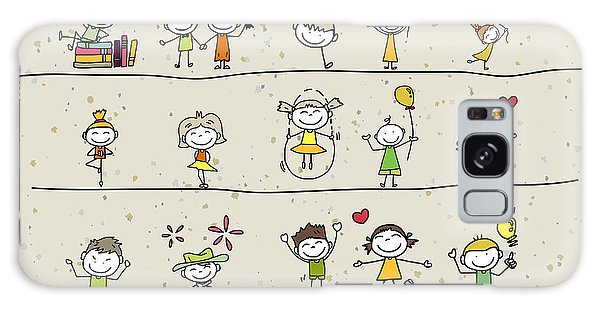 Active Galaxy Case - Hand Drawing Cartoon Happy Kids Playing by Atthameeni