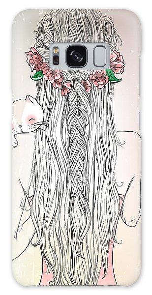 Imagery Galaxy Case - Hand Drawn Beautiful Cute Young Girl by Oksana Lysak