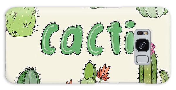 Desert Flora Galaxy Case - Hand Drawn Cactus Icons. Vector by Maria Sem