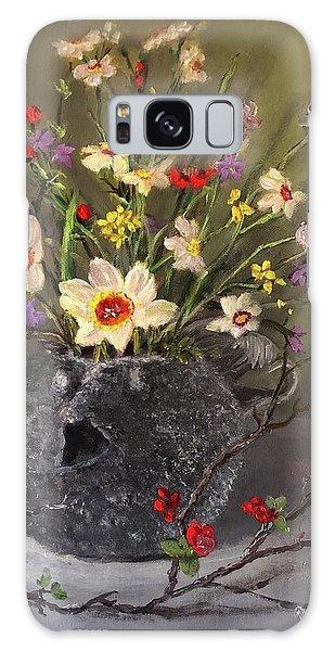Handbuilt Pufferfish Teapot With Spring Flowers Galaxy Case