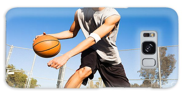 Physical Galaxy Case - Handsome Male Playing Basketball Outdoor by Pkpix