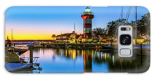 Harbor Town Lighthouse - Blue Hour Galaxy Case