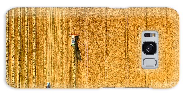 Farmland Galaxy Case - Harvester Machine Working In Field by Lals Stock