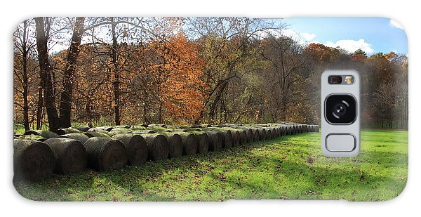 Galaxy Case featuring the photograph Hay Bales On An Autumn Day by Angela Murdock