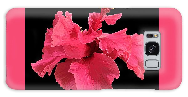 Hibiscus Pink In Black Galaxy Case