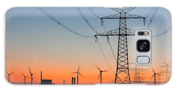 Dusk Galaxy Case - High Voltage Power Lines With by Thorsten Schier