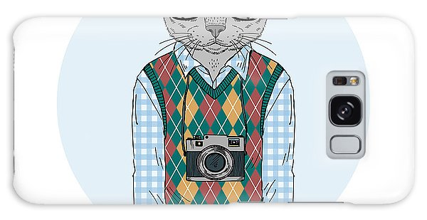 Furry Galaxy S8 Case - Hipster Cat Boy With Photo Camera by Olga angelloz